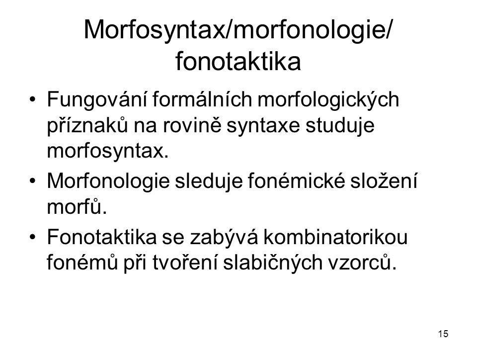 15 Morfosyntax/morfonologie/ fonotaktika Fungování formálních morfologických příznaků na rovině syntaxe studuje morfosyntax. Morfonologie sleduje foné