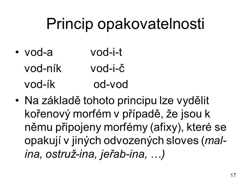 17 Princip opakovatelnosti vod-a vod-i-t vod-níkvod-i-č vod-ík od-vod Na základě tohoto principu lze vydělit kořenový morfém v případě, že jsou k němu