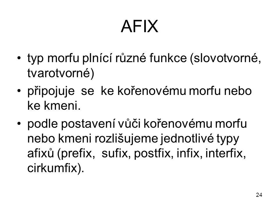 24 AFIX typ morfu plnící různé funkce (slovotvorné, tvarotvorné) připojuje se ke kořenovému morfu nebo ke kmeni. podle postavení vůči kořenovému morfu