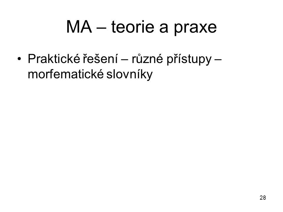 28 MA – teorie a praxe Praktické řešení – různé přístupy – morfematické slovníky