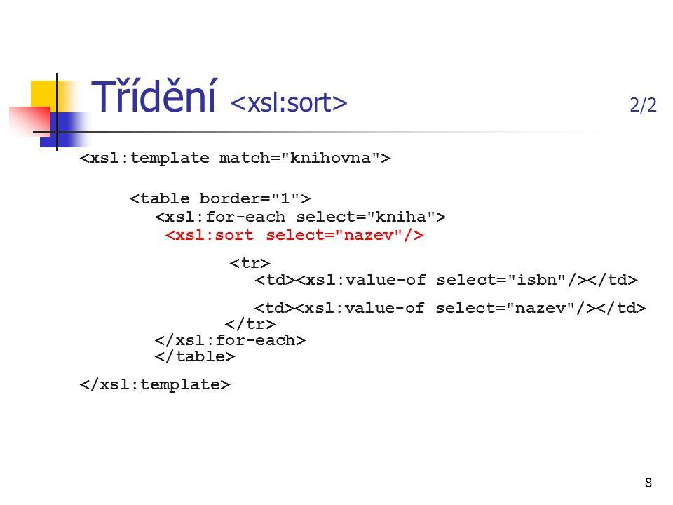 19 Formátovací objekty (FO) dokumenty obsahující pouze formátovací objekty jsou poměrně málo používané (jen pro krátké dokumenty), spíše se kombinují s XSLT můžeme tedy nejprve vytvořit styl XSLT, který použijeme k transformaci XML dokumentu tak, aby výsledný dokument obsahoval formátovací objekty <xsl:stylesheet xmlns:xsl= http://www.w3.org/1999/XSL/Transform xmlns:fo= http://www.w3.org/1999/XSL/Format version= 1.0 >...