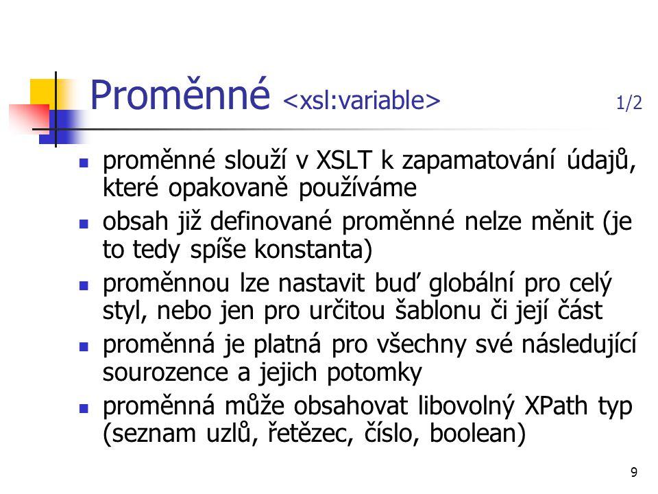 20 v současné době XSL-FO nepodporuje žádný běžně dostupný prohlížeč, jejich využití je vázáno na procesory jazyka XSL-FO open-source/free implementace FOP (převod na PDF, PCL, PS, SVG, Print, AWT, MIF, TXT) PassiveTeX TeXML (převod na TeX) UFO, jfor komerční implementace XEP Epic XSL Formatter žádná z implementací zatím nepokrývá úplný standard, ale zvláště komerční implementace jsou pro většinu aplikací zcela dostačující Realizace transformací FO