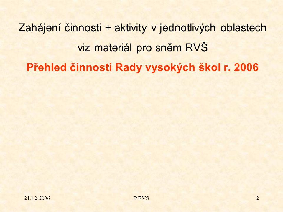 21.12.2006P RVŠ2 Zahájení činnosti + aktivity v jednotlivých oblastech viz materiál pro sněm RVŠ Přehled činnosti Rady vysokých škol r. 2006
