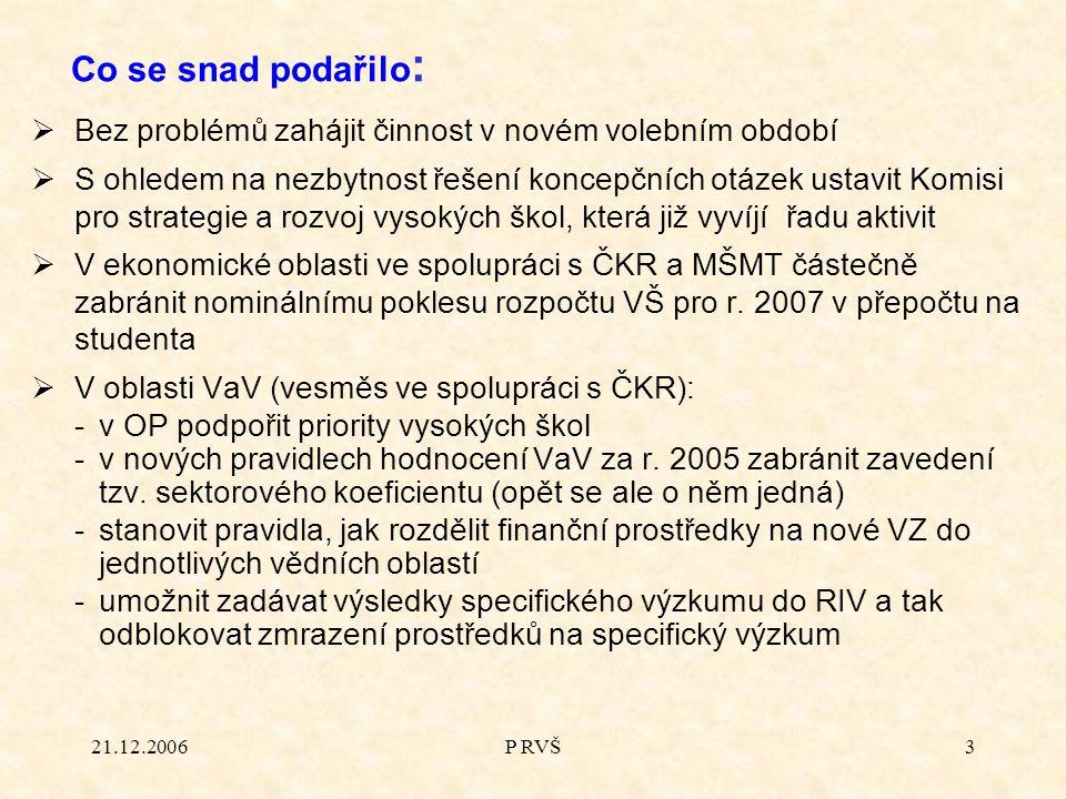 21.12.2006P RVŠ3  Bez problémů zahájit činnost v novém volebním období  S ohledem na nezbytnost řešení koncepčních otázek ustavit Komisi pro strateg