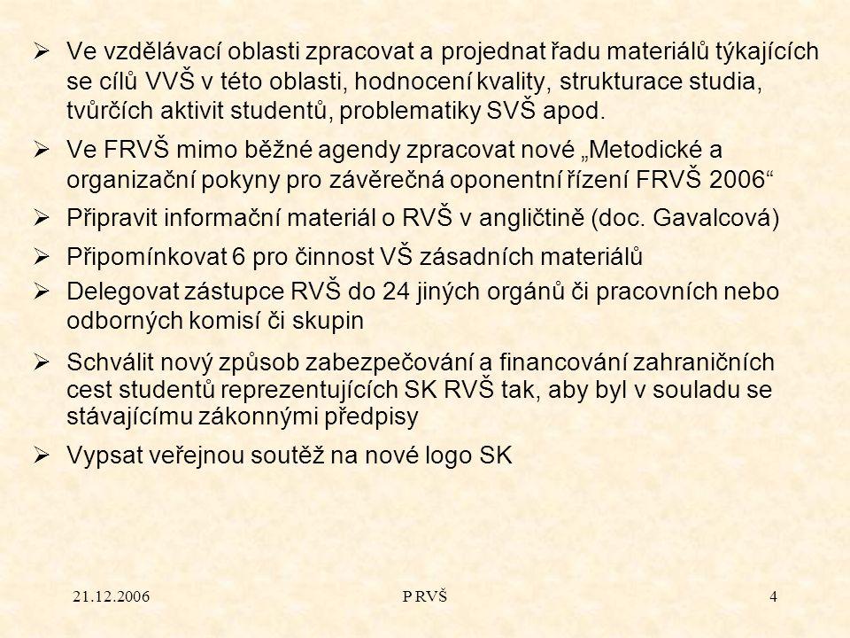 21.12.2006P RVŠ4  Ve vzdělávací oblasti zpracovat a projednat řadu materiálů týkajících se cílů VVŠ v této oblasti, hodnocení kvality, strukturace studia, tvůrčích aktivit studentů, problematiky SVŠ apod.