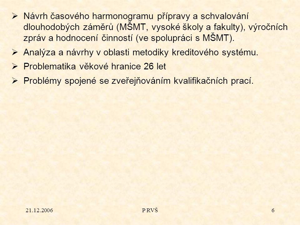 21.12.2006P RVŠ6  Návrh časového harmonogramu přípravy a schvalování dlouhodobých záměrů (MŠMT, vysoké školy a fakulty), výročních zpráv a hodnocení činností (ve spolupráci s MŠMT).