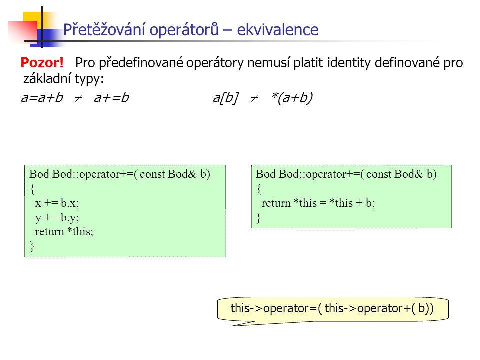 Bod Bod::operator+=( const Bod& b) { x += b.x; y += b.y; return *this; } Pozor.
