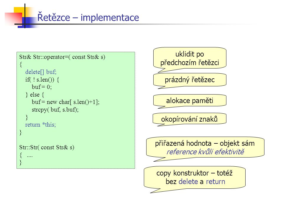 Řetězce – implementace Str& Str::operator=( const Str& s) { delete[] buf; if( .