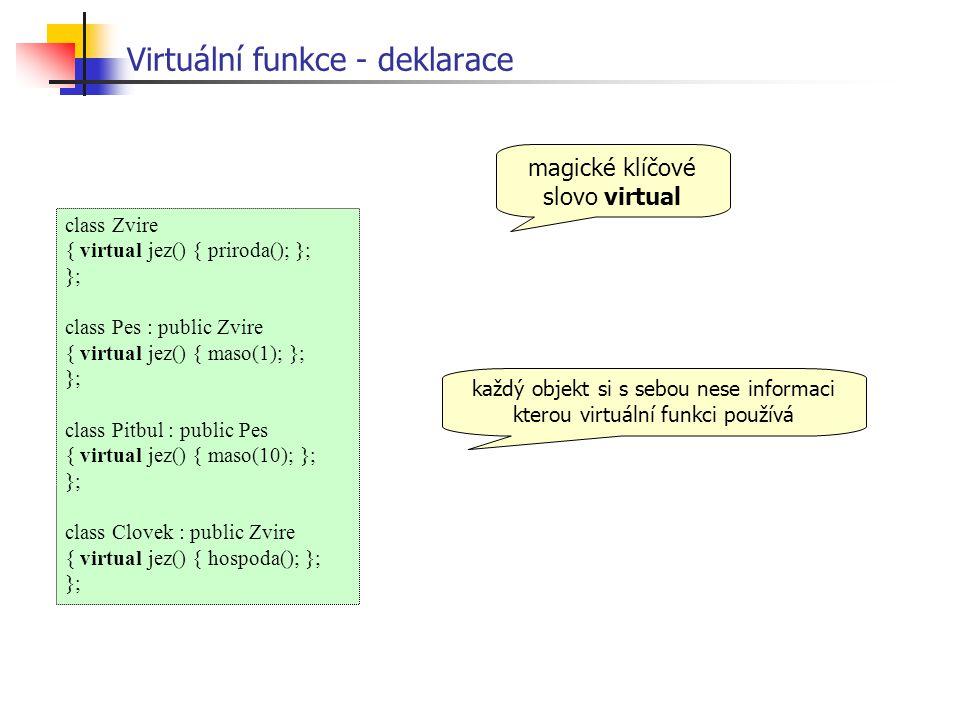 Virtuální funkce - deklarace class Zvire { virtual jez() { priroda(); }; }; class Pes : public Zvire { virtual jez() { maso(1); }; }; class Pitbul : public Pes { virtual jez() { maso(10); }; }; class Clovek : public Zvire { virtual jez() { hospoda(); }; }; magické klíčové slovo virtual každý objekt si s sebou nese informaci kterou virtuální funkci používá