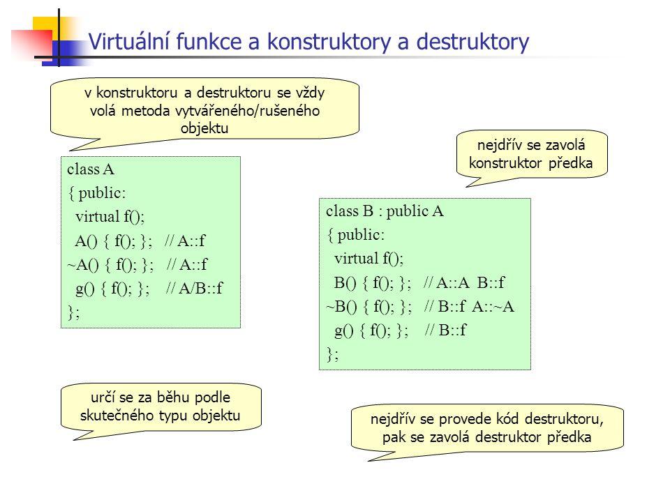 Virtuální funkce a konstruktory a destruktory class A { public: virtual f(); A() { f(); }; // A::f ~A() { f(); }; // A::f g() { f(); }; // A/B::f }; class B : public A { public: virtual f(); B() { f(); }; // A::A B::f ~B() { f(); }; // B::f A::~A g() { f(); }; // B::f }; nejdřív se zavolá konstruktor předka nejdřív se provede kód destruktoru, pak se zavolá destruktor předka v konstruktoru a destruktoru se vždy volá metoda vytvářeného/rušeného objektu určí se za běhu podle skutečného typu objektu