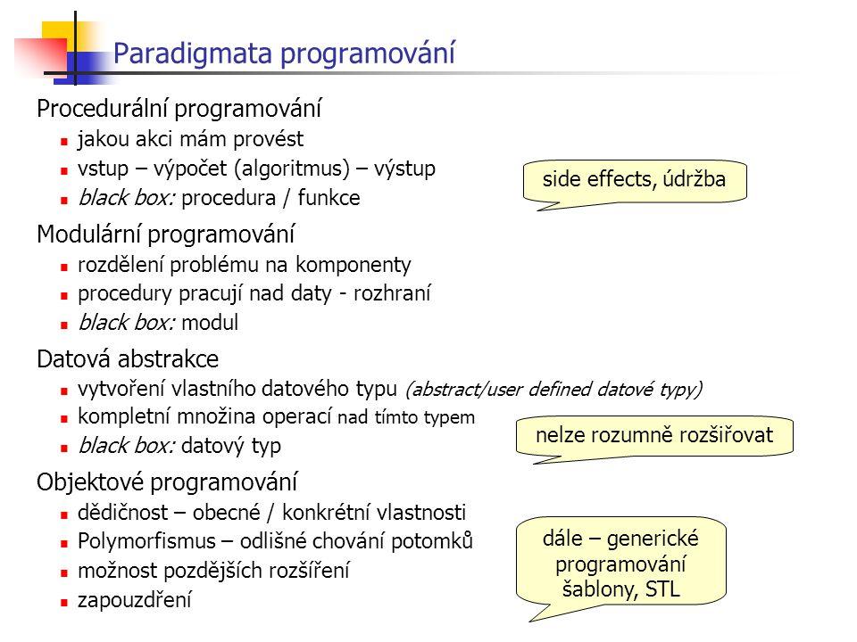 Virtuální funkce - implementace Pes stav žaludek Zvire žaludek z = new Zvire; jez Zvire::jez() { priroda(); }; jez Pes::jez() { maso(1); }; z = new Pes; Zvire * z; z->jez(); tabulka virtuálních funkcí zavolá se správná metoda podle tabulky virtuálních funkcí