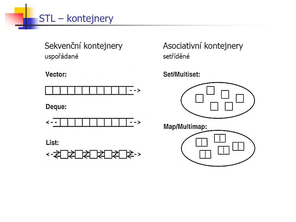 STL – kontejnery Sekvenční kontejneryAsociativní kontejnery uspořádanésetříděné