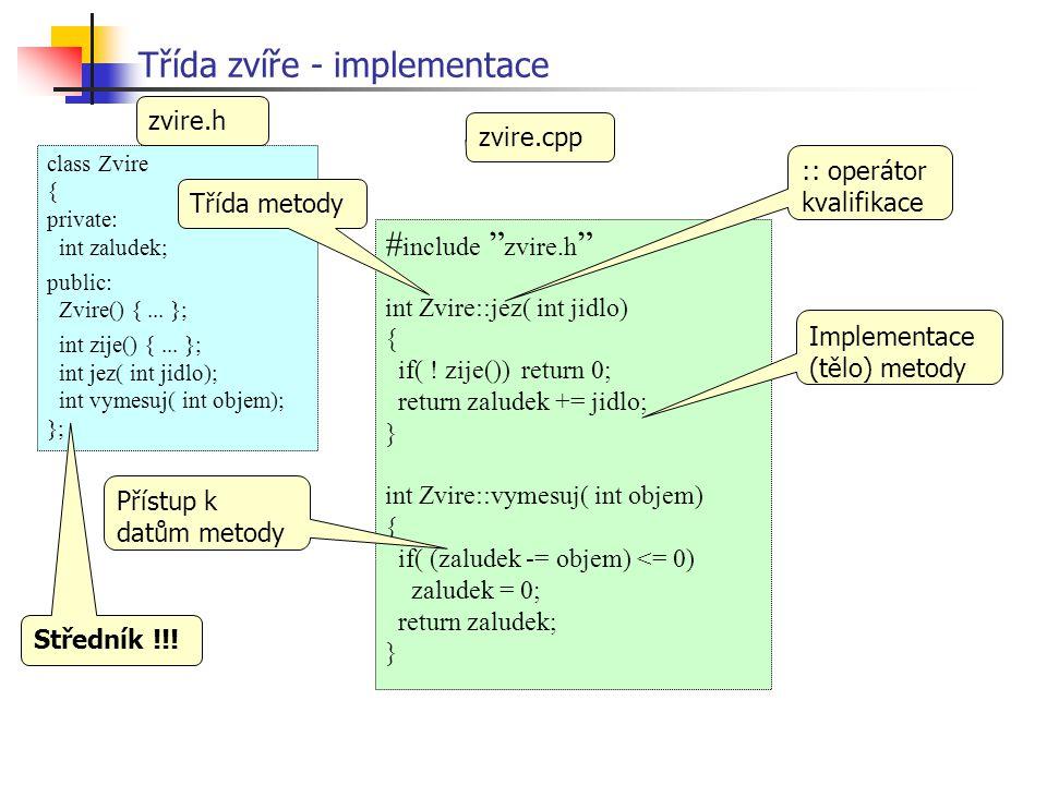 Třída zvíře - použití #include zvire.h .....{.....
