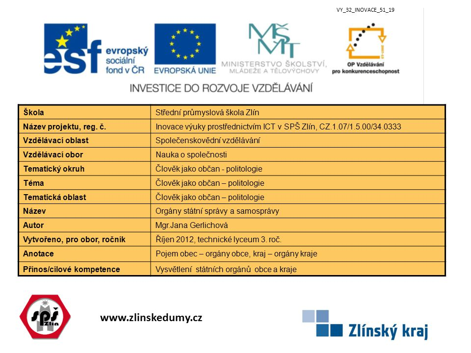 www.zlinskedumy.cz VY_32_INOVACE_51_19 ŠkolaStřední průmyslová škola Zlín Název projektu, reg.