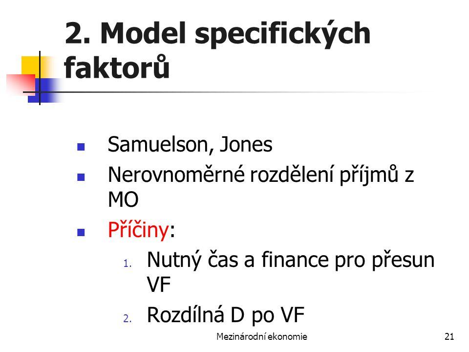 Mezinárodní ekonomie21 2. Model specifických faktorů Samuelson, Jones Nerovnoměrné rozdělení příjmů z MO Příčiny: 1. Nutný čas a finance pro přesun VF