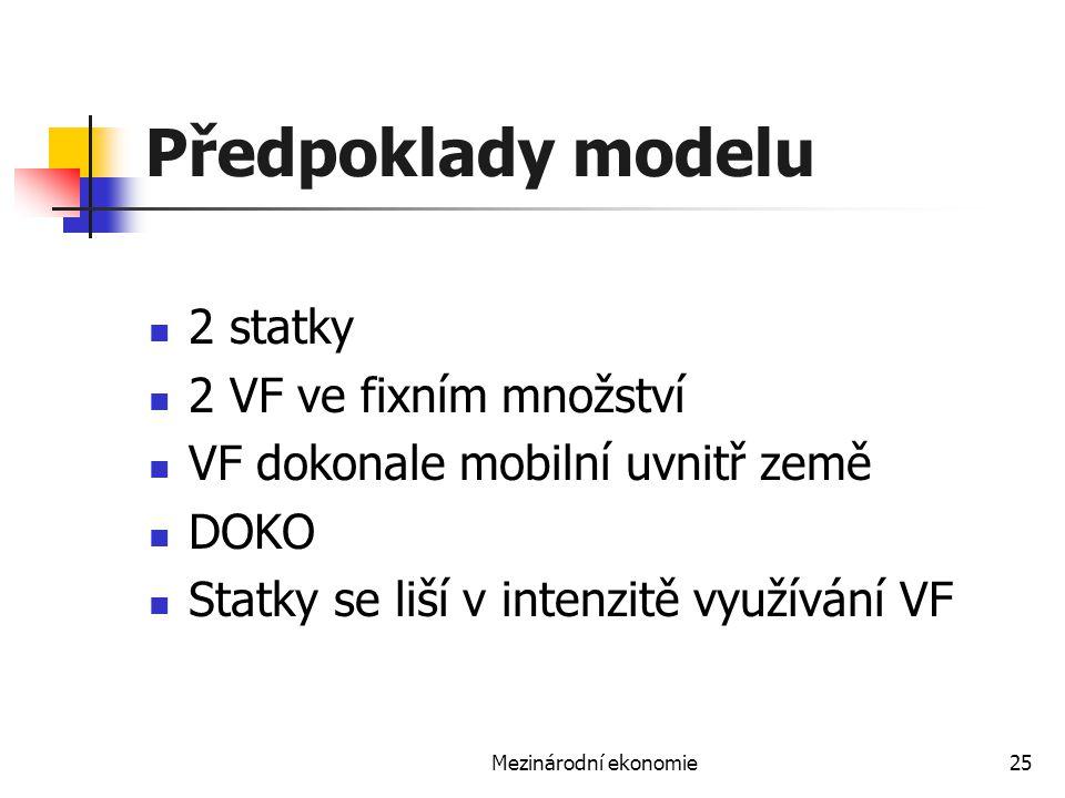 Mezinárodní ekonomie25 Předpoklady modelu 2 statky 2 VF ve fixním množství VF dokonale mobilní uvnitř země DOKO Statky se liší v intenzitě využívání V