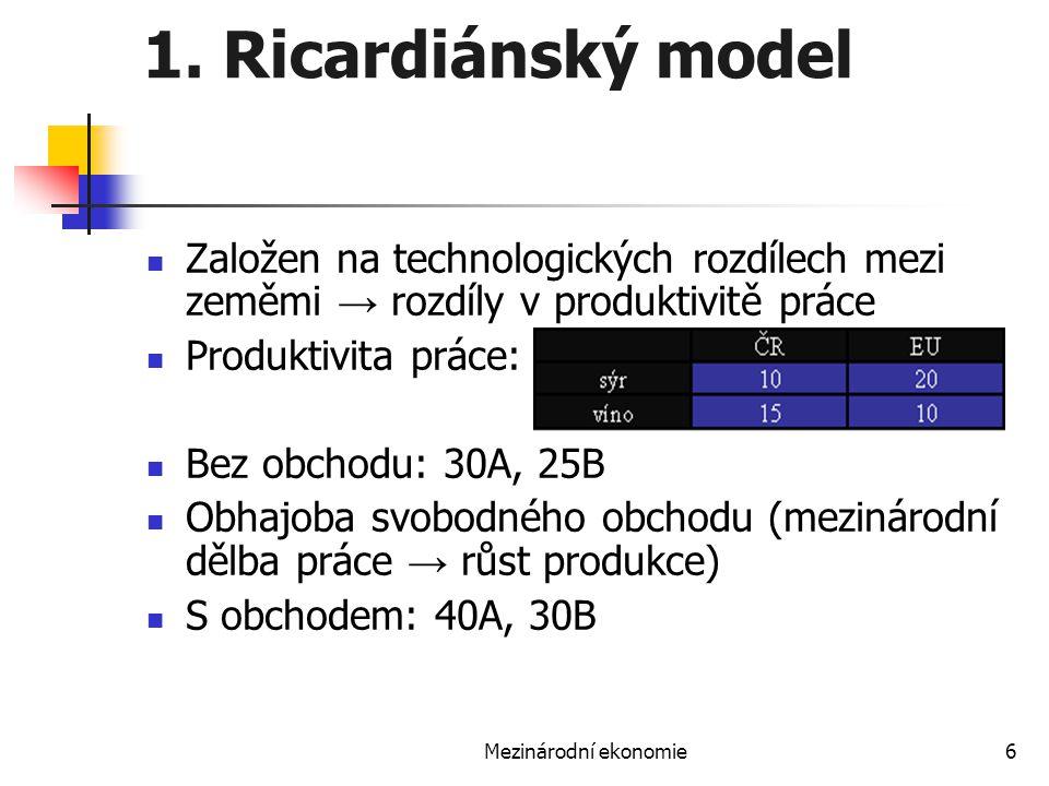 Mezinárodní ekonomie6 1. Ricardiánský model Založen na technologických rozdílech mezi zeměmi → rozdíly v produktivitě práce Produktivita práce: Bez ob