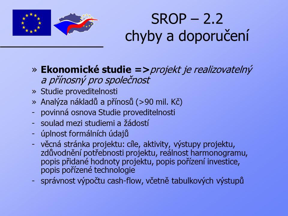 SROP – 2.2 chyby a doporučení »Ekonomické studie =>projekt je realizovatelný a přínosný pro společnost »Studie proveditelnosti »Analýza nákladů a přínosů (>90 mil.