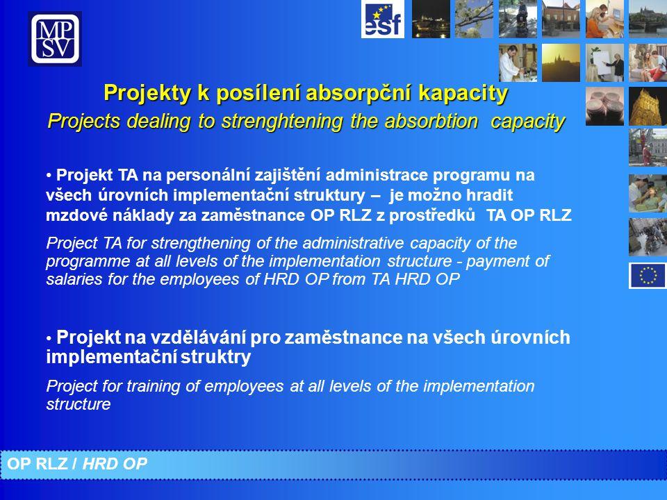 Projekty k posílení absorpční kapacity Projects dealing to strenghtening the absorbtion capacity Projekt TA na personální zajištění administrace progr