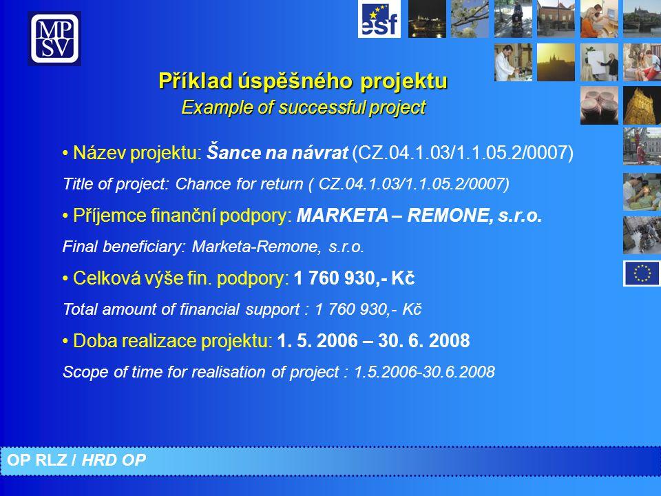 Název projektu: Šance na návrat (CZ.04.1.03/1.1.05.2/0007) Title of project: Chance for return ( CZ.04.1.03/1.1.05.2/0007) Příjemce finanční podpory: MARKETA – REMONE, s.r.o.