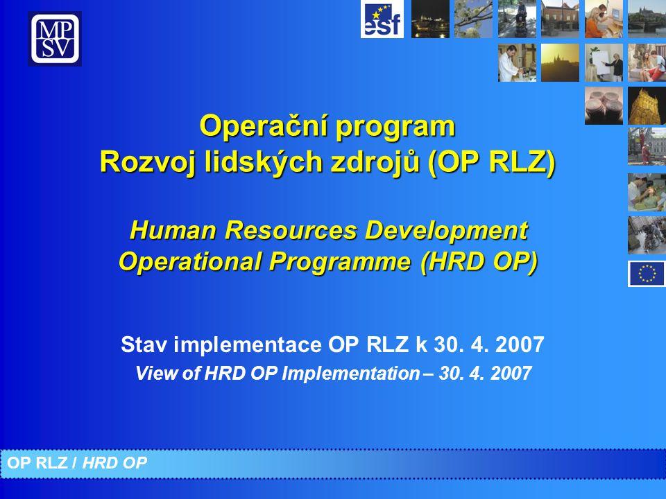Operační program Rozvoj lidských zdrojů (OP RLZ) Human Resources Development Operational Programme (HRD OP) Stav implementace OP RLZ k 30. 4. 2007 Vie