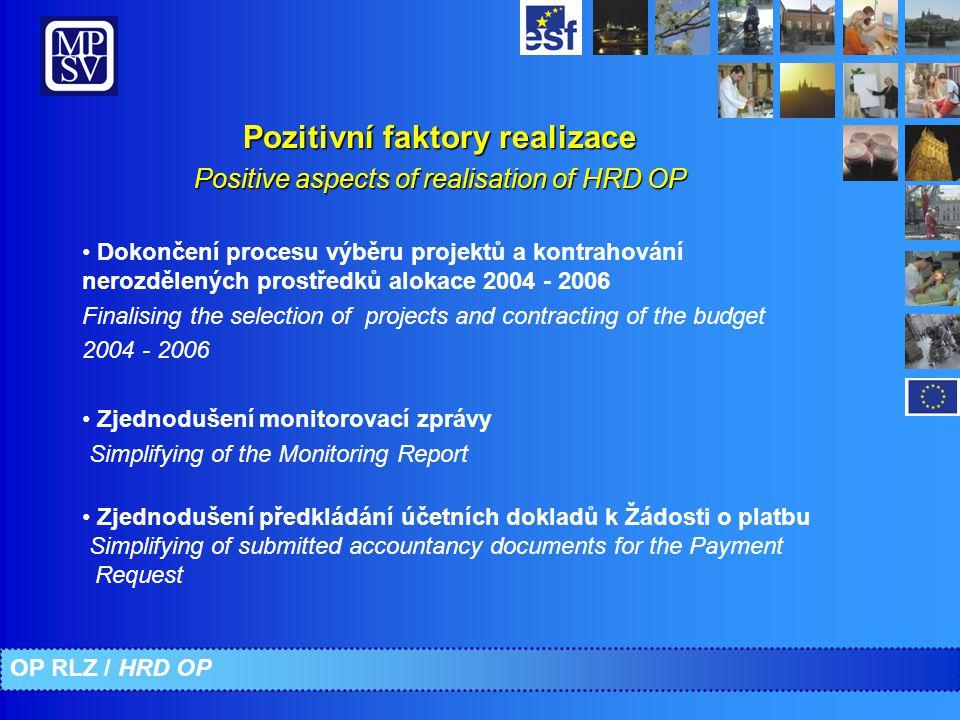 Dokončení procesu výběru projektů a kontrahování nerozdělených prostředků alokace 2004 - 2006 Finalising the selection of projects and contracting of