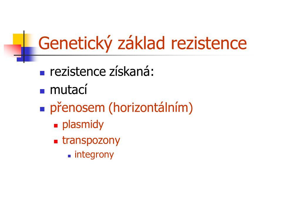 Genetický základ rezistence rezistence získaná: mutací přenosem (horizontálním) plasmidy transpozony integrony