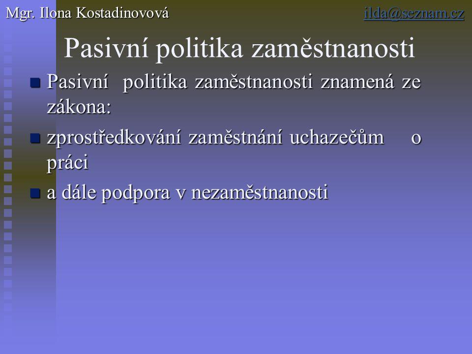 Pasivní politika zaměstnanosti Pasivní politika zaměstnanosti znamená ze zákona: Pasivní politika zaměstnanosti znamená ze zákona: zprostředkování zam