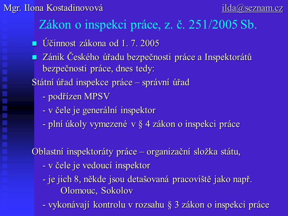 Zákon o inspekci práce, z. č. 251/2005 Sb. Účinnost zákona od 1. 7. 2005 Účinnost zákona od 1. 7. 2005 Zánik Českého úřadu bezpečnosti práce a Inspekt
