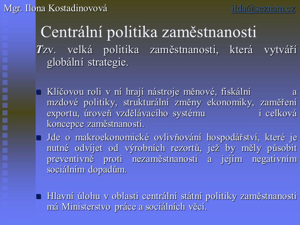 Centrální politika zaměstnanosti Tzv. velká politika zaměstnanosti, která vytváří globální strategie. Klíčovou roli v ní hrají nástroje měnové, fiskál