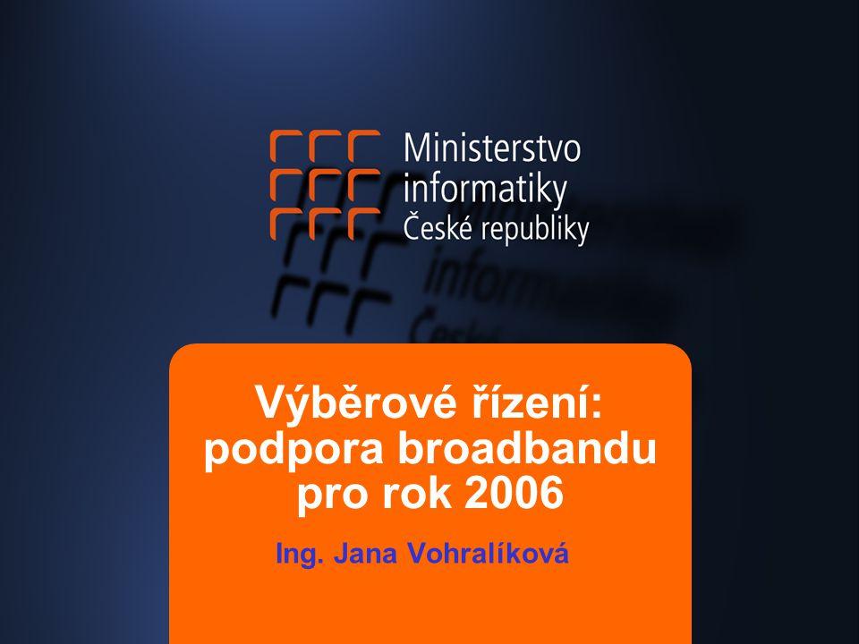 Výběrové řízení: podpora broadbandu pro rok 2006 Ing. Jana Vohralíková