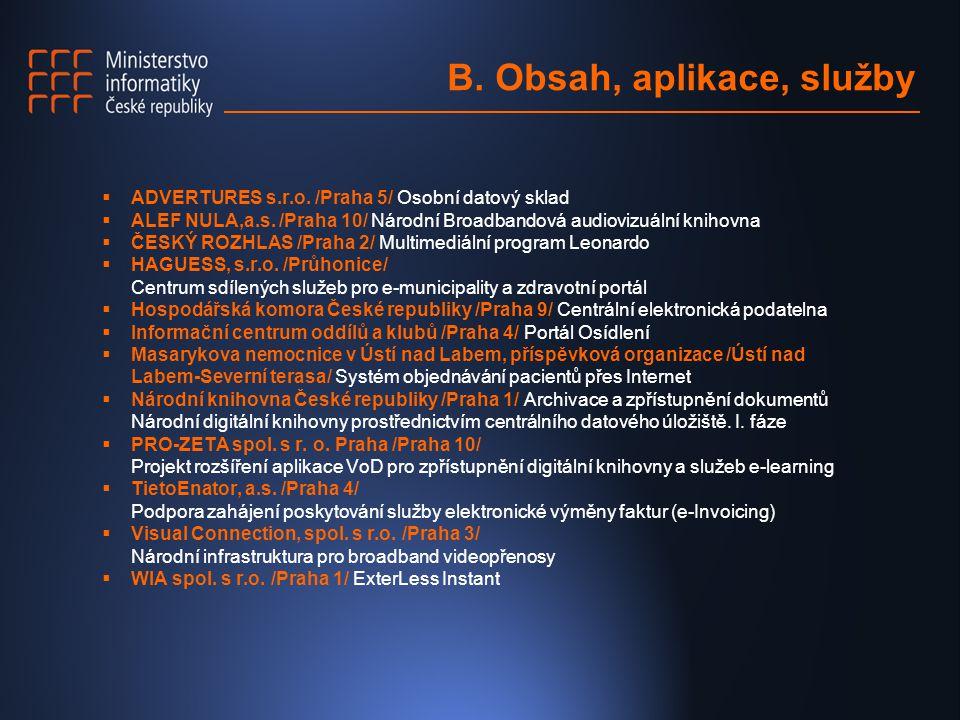 B. Obsah, aplikace, služby  ADVERTURES s.r.o. /Praha 5/ Osobní datový sklad  ALEF NULA,a.s. /Praha 10/ Národní Broadbandová audiovizuální knihovna 