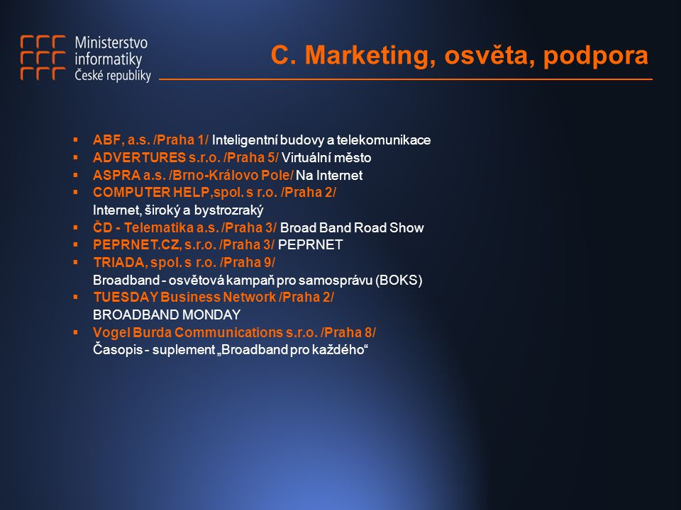 C. Marketing, osvěta, podpora  ABF, a.s.