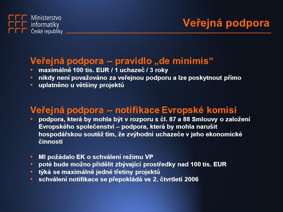 """Veřejná podpora Veřejná podpora – pravidlo """"de minimis""""  maximálně 100 tis. EUR / 1 uchazeč / 3 roky  nikdy není považováno za veřejnou podporu a lz"""