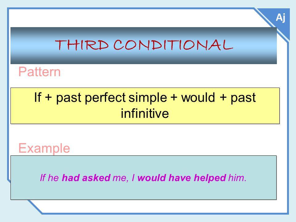 Aj Pattern Example THIRD CONDITIONAL If + past perfect simple + would + past infinitive If he had asked me, I would have helped him.