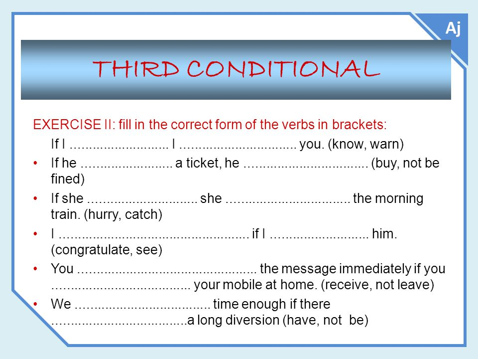 Aj THIRD CONDITIONAL EXERCISE II: fill in the correct form of the verbs in brackets: If I........................... I................................