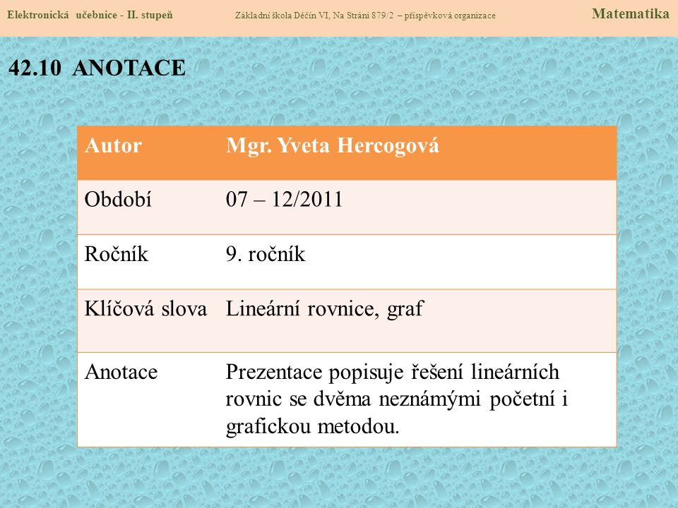 AutorMgr. Yveta Hercogová Období07 – 12/2011 Ročník9. ročník Klíčová slovaLineární rovnice, graf AnotacePrezentace popisuje řešení lineárních rovnic s