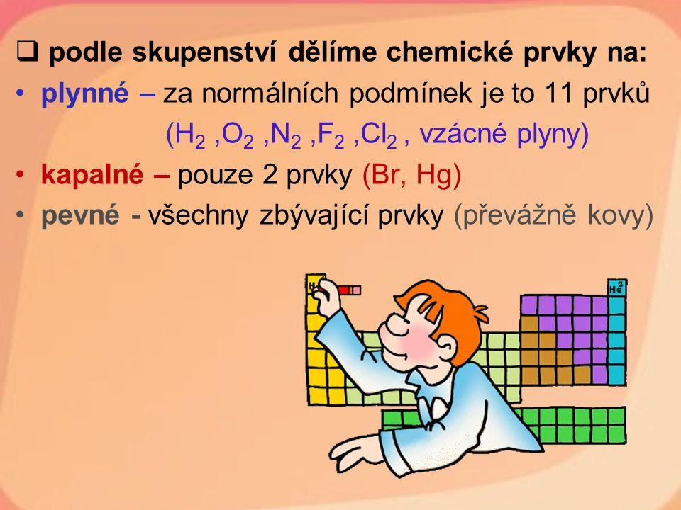  podle skupenství dělíme chemické prvky na: plynné – za normálních podmínek je to 11 prvků (H 2,O 2,N 2,F 2,Cl 2, vzácné plyny) kapalné – pouze 2 prv