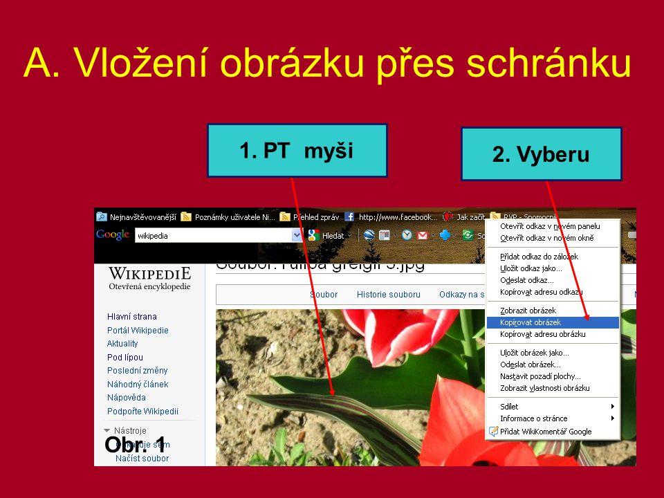 A. Vložení obrázku přes schránku Obr. 1 2. Vyberu 1. PT myši