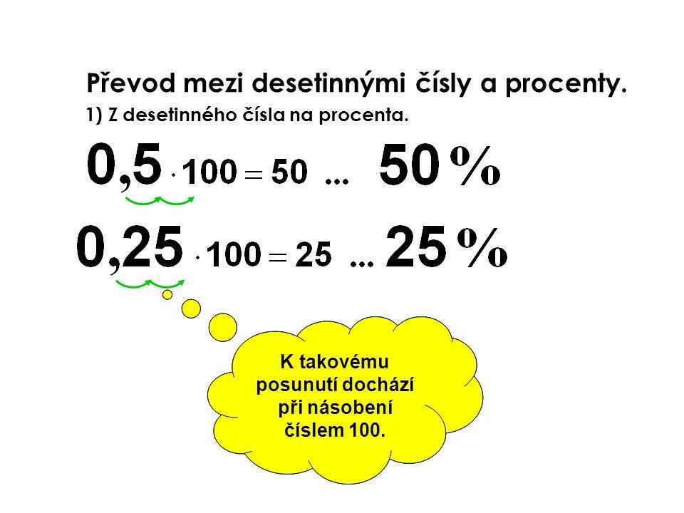 Převod mezi desetinnými čísly a procenty. V matematickém vyjádření pomocí procent dochází v číselné hodnotě oproti desetinnému číslu k posunu desetinn