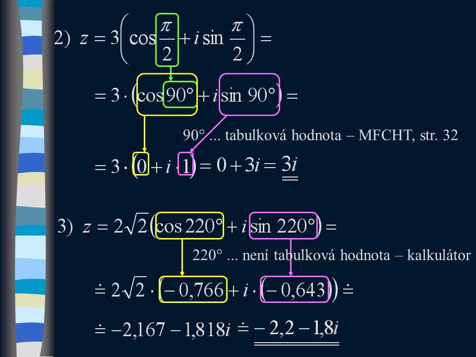 90 ... tabulková hodnota – MFCHT, str. 32 220 ... není tabulková hodnota – kalkulátor