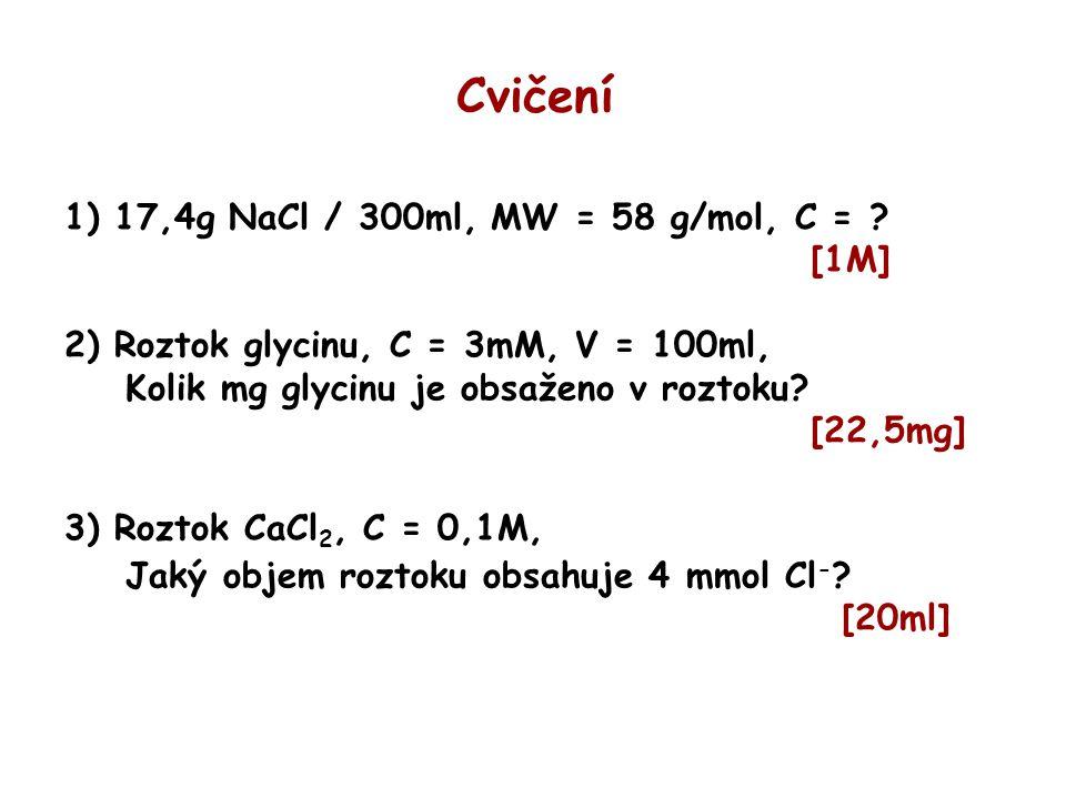 Cvičení 1) 17,4g NaCl / 300ml, MW = 58 g/mol, C = ? [1M] 2) Roztok glycinu, C = 3mM, V = 100ml, Kolik mg glycinu je obsaženo v roztoku? [22,5mg] 3) Ro