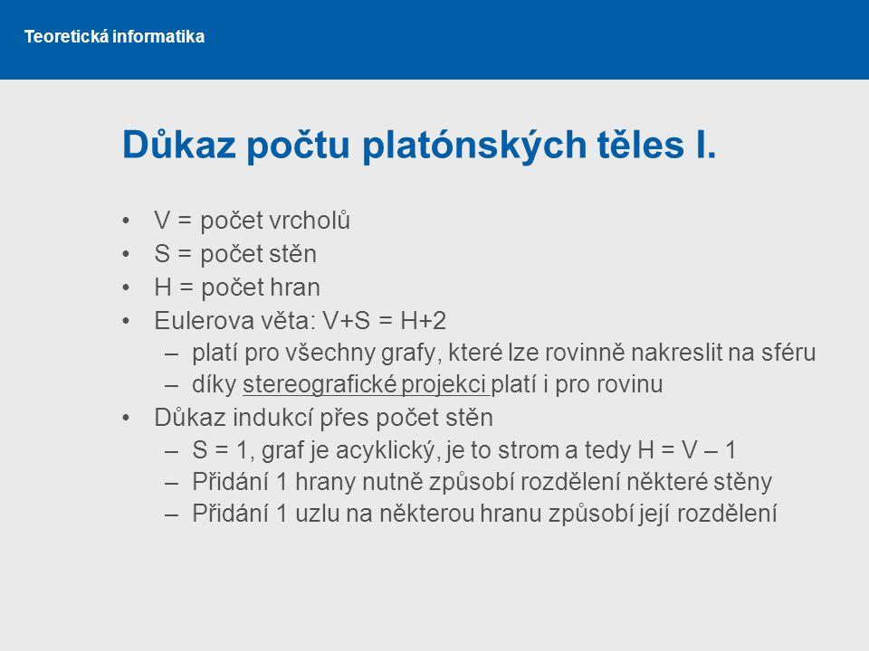 Teoretická informatika Důkaz počtu platónských těles I.