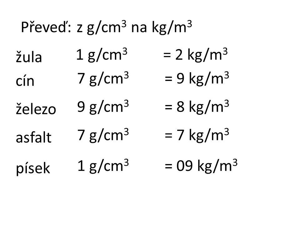 Převeď: z g/cm 3 na kg/m 3 žula cín železo asfalt písek 1 g/cm 3 7 g/cm 3 9 g/cm 3 7 g/cm 3 1 g/cm 3 = 2 kg/m 3 = 9 kg/m 3 = 8 kg/m 3 = 7 kg/m 3 = 09