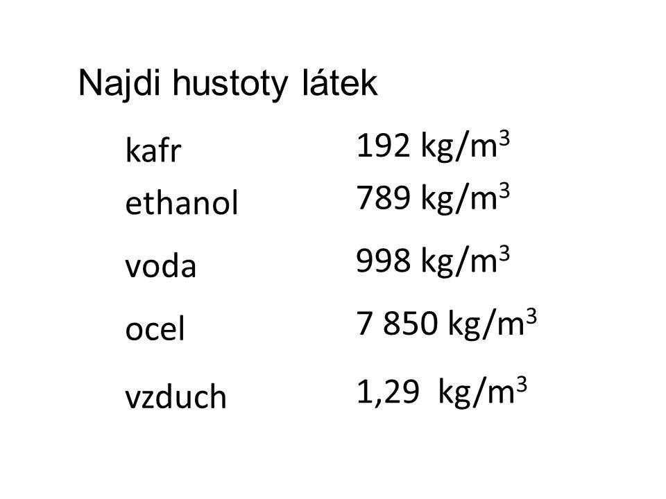 kafr ethanol voda ocel Najdi hustoty látek vzduch 192 kg/m 3 789 kg/m 3 998 kg/m 3 7 850 kg/m 3 1,29 kg/m 3