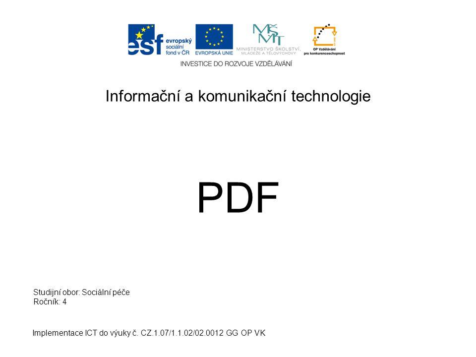 Informační a komunikační technologie PDF Implementace ICT do výuky č.