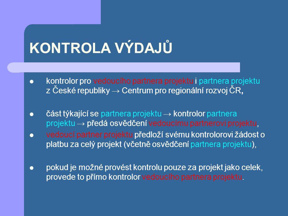 KONTROLA VÝDAJŮ kontrolor pro vedoucího partnera projektu i partnera projektu z České republiky → Centrum pro regionální rozvoj ČR, část týkající se p