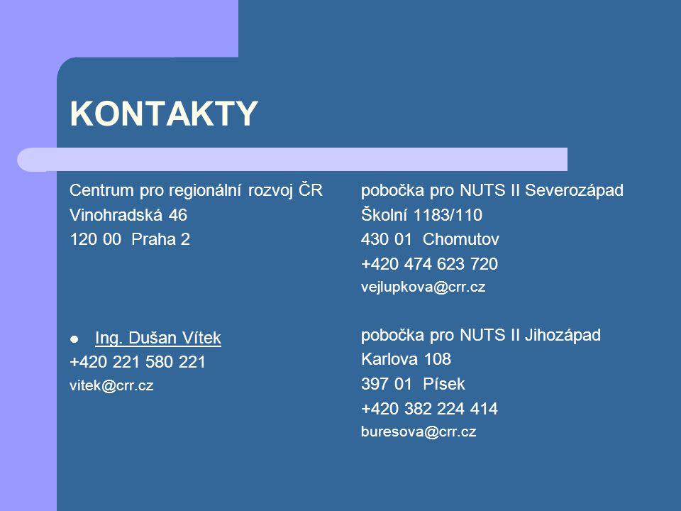 KONTAKTY Centrum pro regionální rozvoj ČR Vinohradská 46 120 00 Praha 2 Ing. Dušan Vítek +420 221 580 221 vitek@crr.cz pobočka pro NUTS II Severozápad