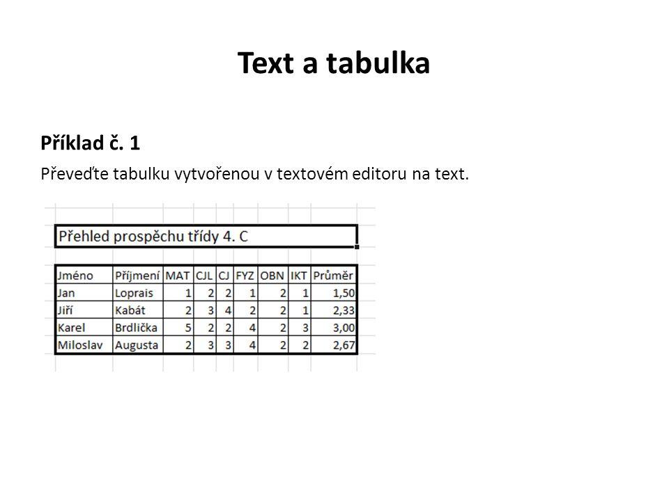 Text a tabulka Příklad č. 1 Převeďte tabulku vytvořenou v textovém editoru na text.