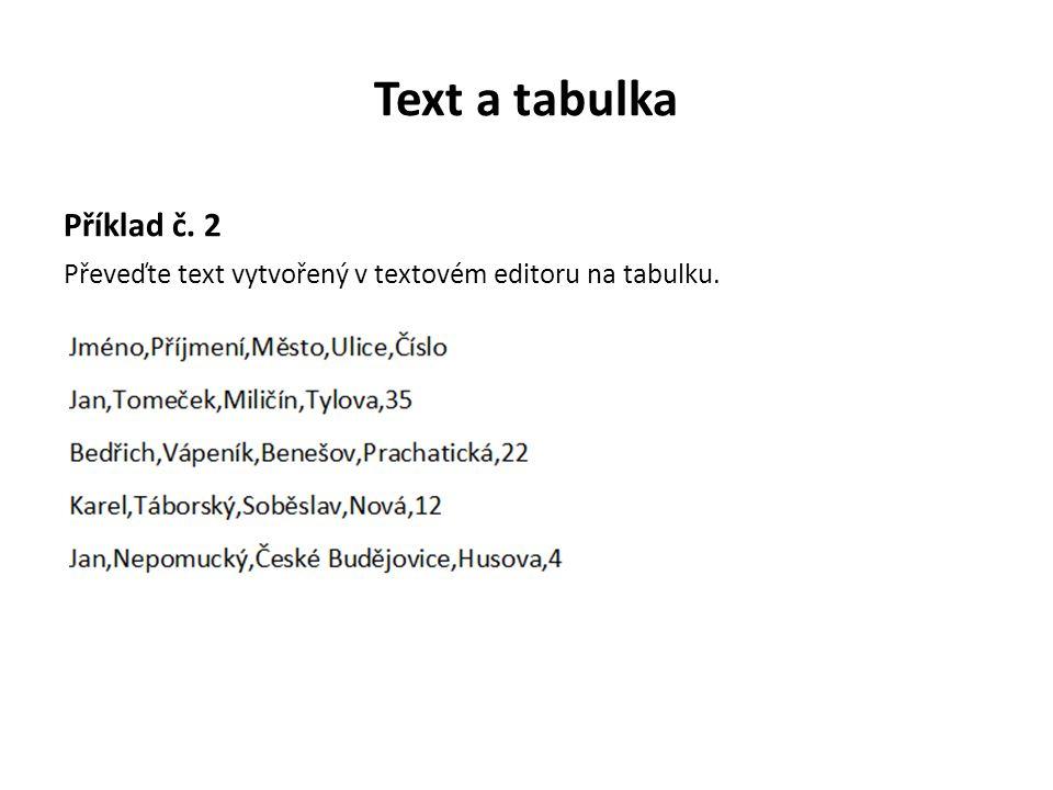 Text a tabulka Příklad č. 2 Převeďte text vytvořený v textovém editoru na tabulku.